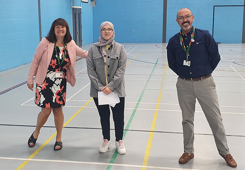 Miss D. Johnson and Mr N A. Johnson, Academy Co-Headteachers, celebrate Results Day 2021 with students